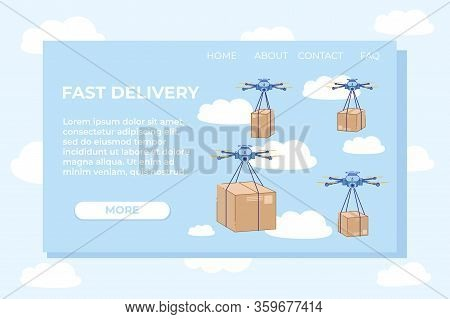 Fast Delivery Using Air Transportation Landing Page. Boxes Tied To Quadrocopters Flying In Sky Flat