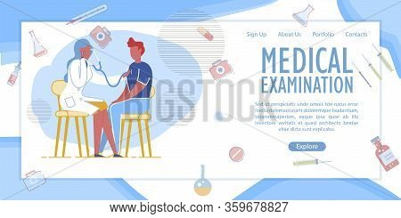 Medical Examination Banner. Woman Doctor Examining Man Patient With Stethoscope. Health Checkup. Mak