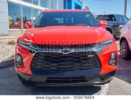 Montreal, Canada - April 4, 2020: Red Chevrolet Blazer Car. Chevrolet Is One Of The Most Popular And