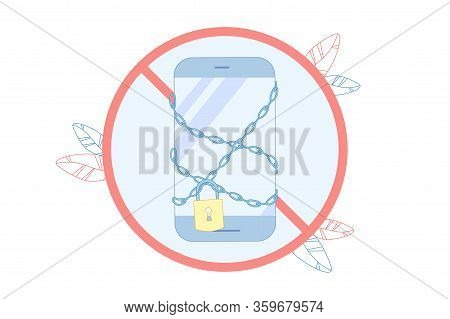 Smartphone Entangled In Chain With Lock, Vector. Refuse Daily Use Smartphone For While. Benefit Such