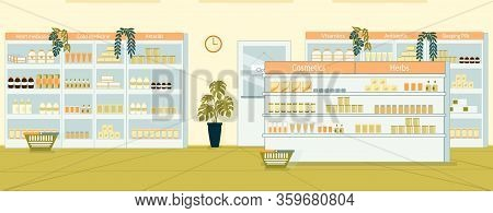 Showcases With Variety Medicine, Large Selection. Cosmetic, Herb, Heart Medication, Cold Medicine, A