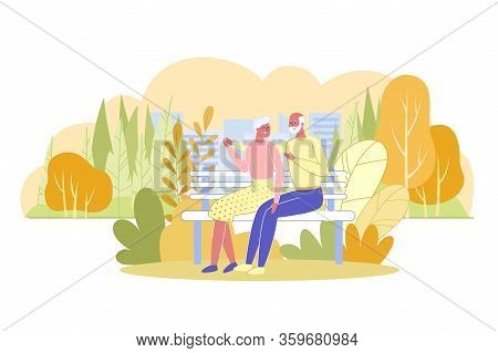 Elderly Couple Embracing Sitting On Bench In Park. Senior Man And Woman Cartoon Characters In Love A