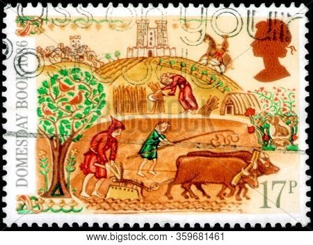 Saint Petersburg, Russia - April 01, 2020: Postage Stamp Issued In The United Kingdom With The Image