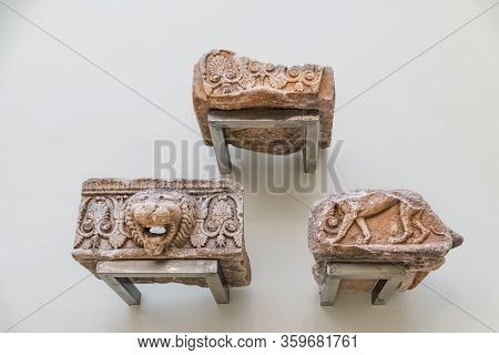 Delphi, Greece - September 21, 2017: Ancient Greek Parts Of Marble Column In Museum Of Delphi, Greec