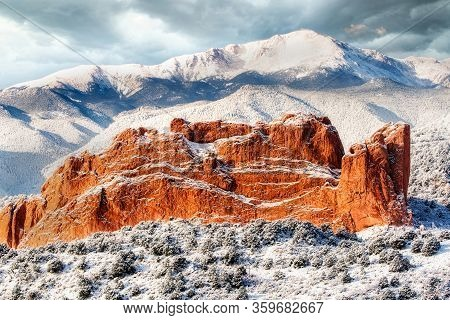 A View Of The Garden Of The Gods And Pikes Peak After A Fresh Snowfall Near Colorado Springs Colorad