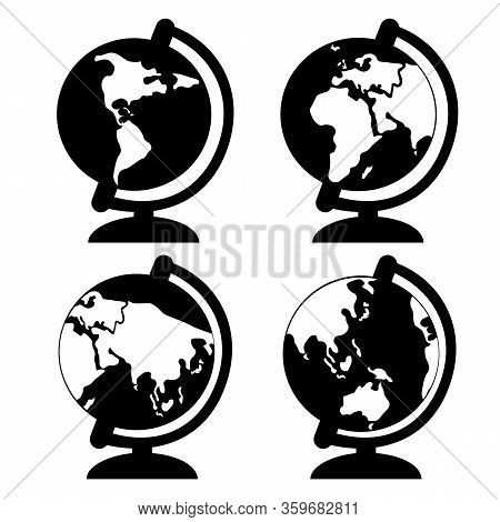 Globe Continents Or Continents Icon In Black Color Isolated On White Background. Vector Eps 10
