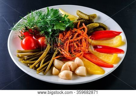 Set Mix Pickled Vegetables Assorted Pickled Whole Green Pepper, Cucumbers And Tomatoes. Fermented Ve