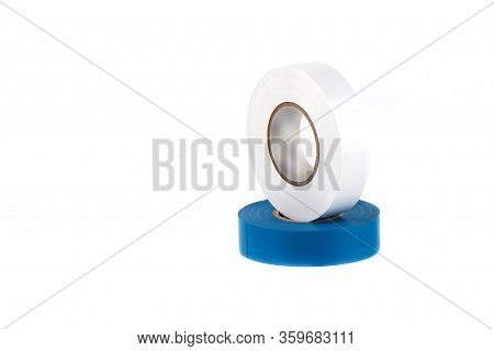 Blue And White Insulating Tapes To Insulate Twisted Of Electrical Wires. Insulating Tapes Isolated O