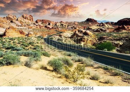 Sunset At Valley Of Fire State Park Near Las Vegas, Nevada