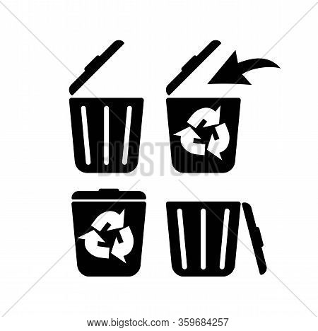Recycle Bin, Litter Bin, Ecological Recycle Bin Or Trash Can. Icon In Black Set Isolated White Backg
