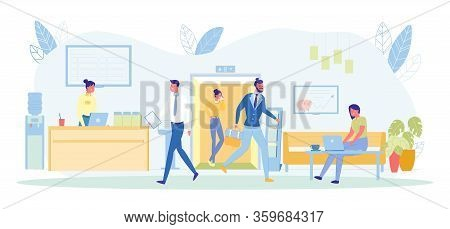 Clients Coming Out From Elevator To Bank Department Flat Cartoon Vector Illustration. Woman Bank Cle