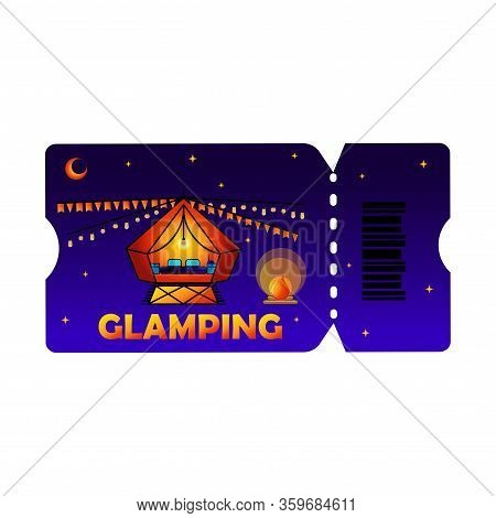 Glamping Or Camping Ticket With Tent Icon And Light Bulb In Colored Colors, Isolated Phantom Blue Ba