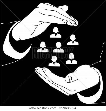 Icon Logo Of Two Hands Holding Employees Of The Organization, Company Or Teamwork Management In Whit