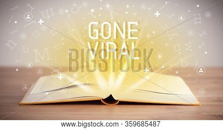 Open book with GONE VIRAL inscription, social media concept