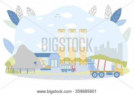 Concrete Batching Plant Vector Illustration. Factory With Cement Silos, Warehouse, Industrial Buildi