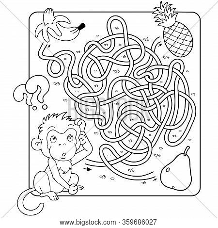 Maze or Labyrinth Game for Preschool Children. Puzzle. Tangled Road. Matching Game. Coloring Page Outline Of Cartoon Monkey with banana, pineapple and pear. Coloring book for kids.