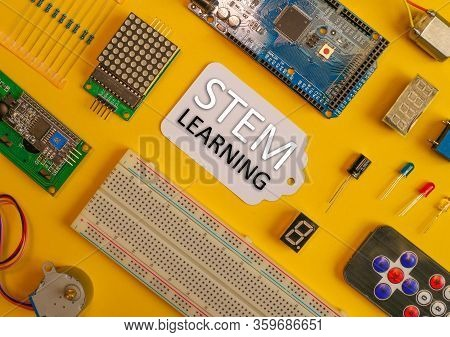 Stem Learning, Electronic Components With Stem Learning In Center.