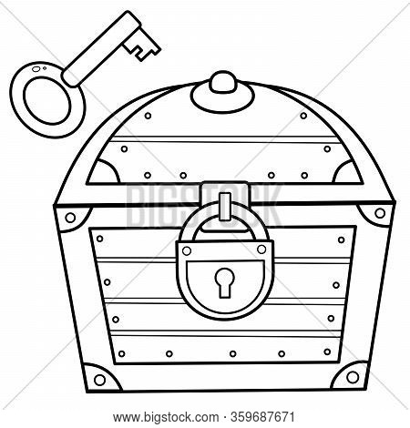 Coloring Page Outline Of Cartoon Treasure Chest With Key. Closed Coffer With Lock. Decorative Elemen