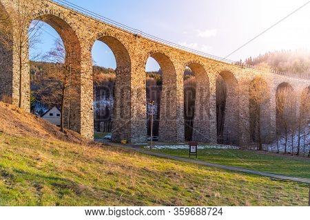 Novina Viaduct - Old Stone Railway Bridge Near Krystofovo Udoli, Czech Republic