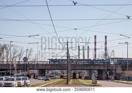 Belgrade, Serbia - April 2, 2018: Train Station Of Novi Beograd, A Suburban Multimodal Public Transp