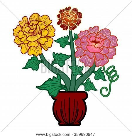 Graphical Flower Illustration. Green Flower, Pink Flower, Yellow Flower, Contour Flower, Bloom Flowe