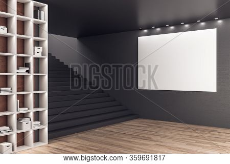 Minimalistic Loft Office Room With Bookcase And Blank Poster Wall. Business And Education Concept, 3