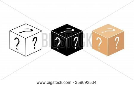 Mystery Box Or Random Loot In The Cube Or Gift Box With Line. Box, Package Icon In White, Black, Bei