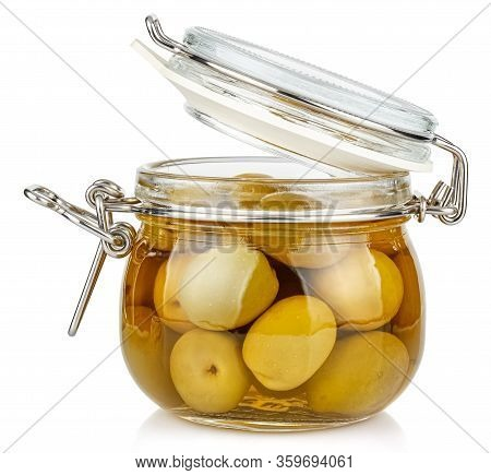 Whole Green Olives In Brine In A Open Transparent Glass Jar With Rubber Seal And Metal Clamp On Lid