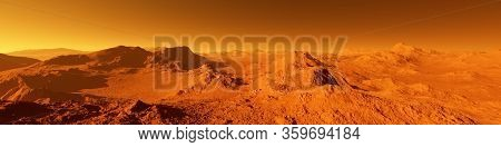 Wide Panorama Of Mars - The Red Planet - Landscape With Mountains And Impact Crater During Sunrise O