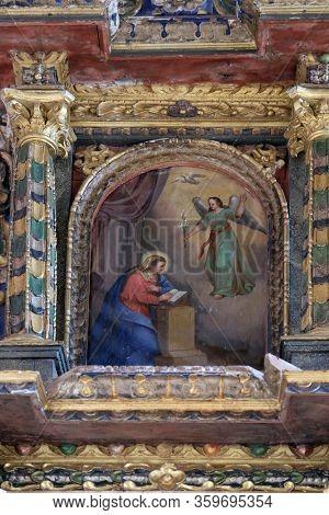 VUGROVEC, CROATIA - OCTOBER 02: The Annunciation of the Virgin Mary altarpiece in the Church of Saint Michael in Vugrovec, Croatia on October 02, 2015