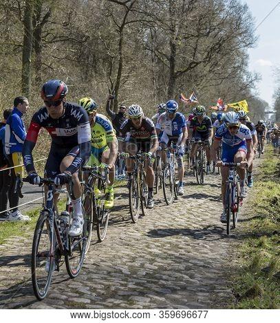Wallers,france - April 12,2015: The Belarusian Cyclist Yauheni Hutarovich Of  Bretagne-seche Environ