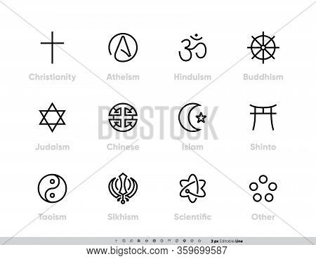 Religious Tradition Symbols Set. Christianity, Atheism, Hinduism, Buddhism, Judaism, Chinese, Islam,