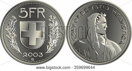 5 Swiss Francs Silver Coin, Obverse Alpine Herdsman, Reverse Federal Coat Of Arms, 5fr, Branche Of E
