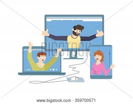 Self Isolation Period Or Quarantine Concept. People Stay At Home, Have Collective Virtual Meeting Fo