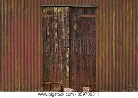 Old Weathered Toolshed Shack Door Front, Rustenburg, South Africa