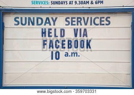 Sydney, Australia - April 2020. Church Closed Because Of Coronavirus Pandemic. Sign Stating Online S