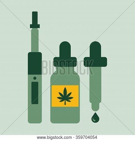 Marijuana Cannabis Liquid For Vaping. Vape Cannabis Oil. Cannabis Vaporizer.
