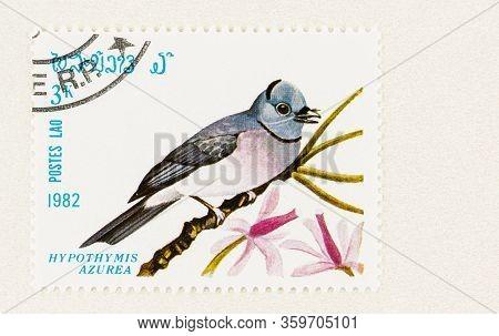 Seattle Washington - April 3, 2020: Close Up Of Laos Stamp With  Hypothymis Azurea, Aka Black Naped