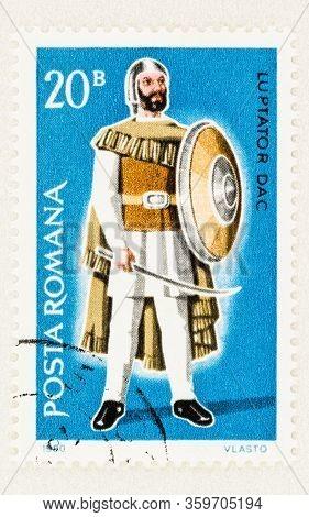 Seattle Washington - April 3, 2020: Close Up Of 1980  Romania Stamp Featuring Dacian Warrior, Luptat