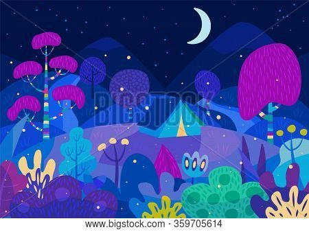 Camping In A Magic Forest With Fireflies And Fairytale Colourful Plants
