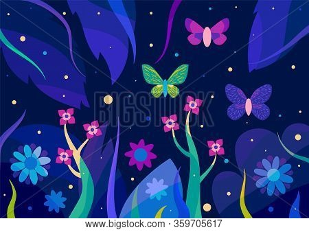 Floral Background With Butterflies In The Jungle. Night Illustration With Fireflies.
