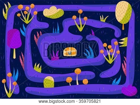 Illustration Of A Fairy Tale Cute Hedge Maze With A Chest