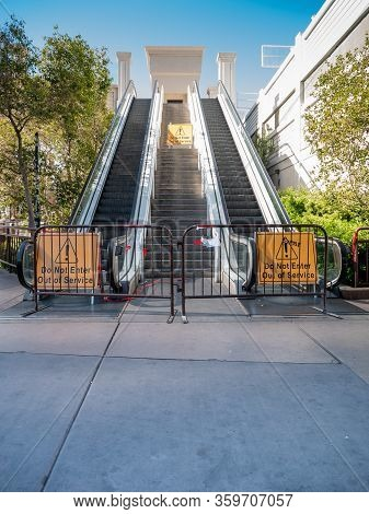 4 April 2020, Las Vegas, Nevada, Usa, Shut Down And Fenced Off Escalator On Las Vegas Boulevard Stri