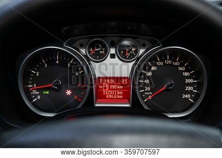 Novosibirsk, Russia - March 04, 2020:   Ford Kuga,  Ound Speedometer, Odometer With A Range Of 112 T