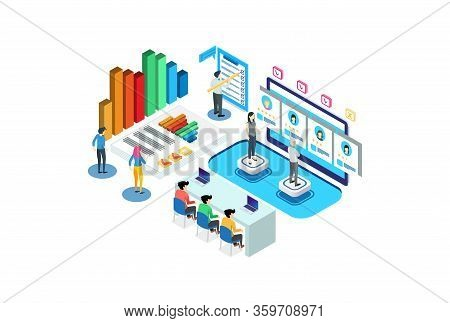 Illustration Of Modern Isometric Employee Recruitment Meeting, Suitable For Diagrams, Infographics,