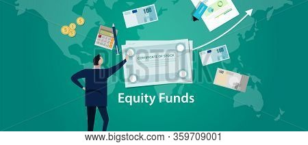 Equity Funds. Business Man Looking At Chart Of Mutual Fund. Investment Concept Illustration