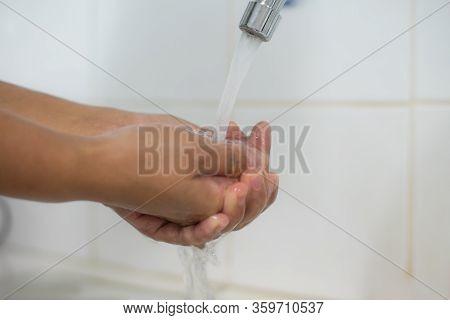 Hand Washing With Protective Covid-19 Virus Or Coronavirus.