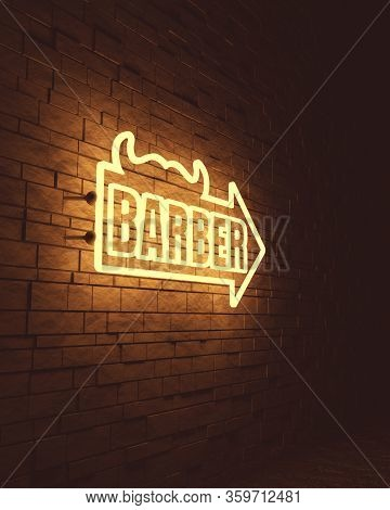 Vintage Barber Shop Emblem Or Label. Mustache Icon With Arrow And Text. 3d Rendering. Neon Bulb Stre