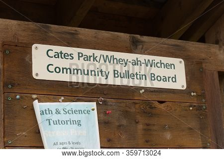 Deep Cove, North Vancouver, Canada - April 1,2020: View Of Community Bulletin Board At Cates Park(wh