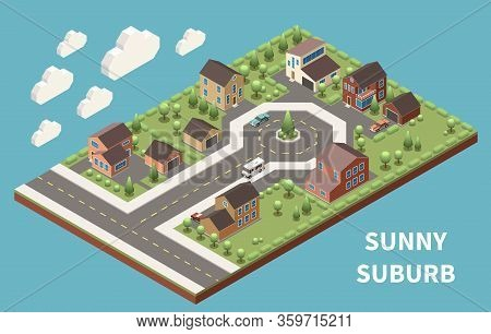 Sunny Suburb Isometric Background  Illustrated Green Suburban Neighborhood With Good Roads And Moder